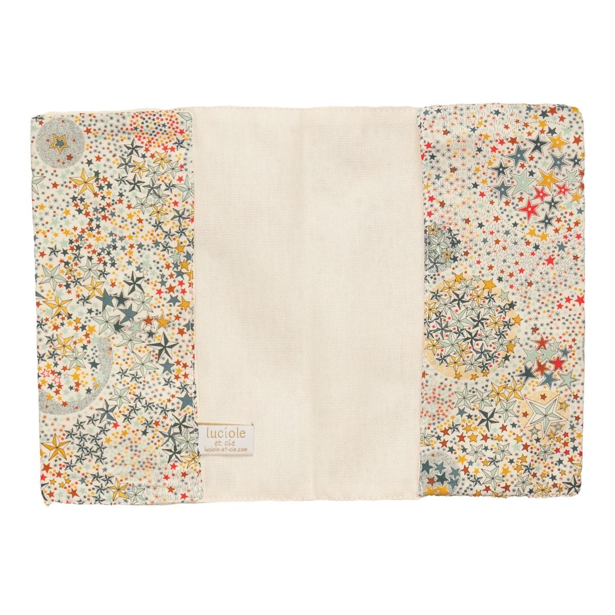 Protège carnet de santé en tissu Liberty Etoiles multicolores