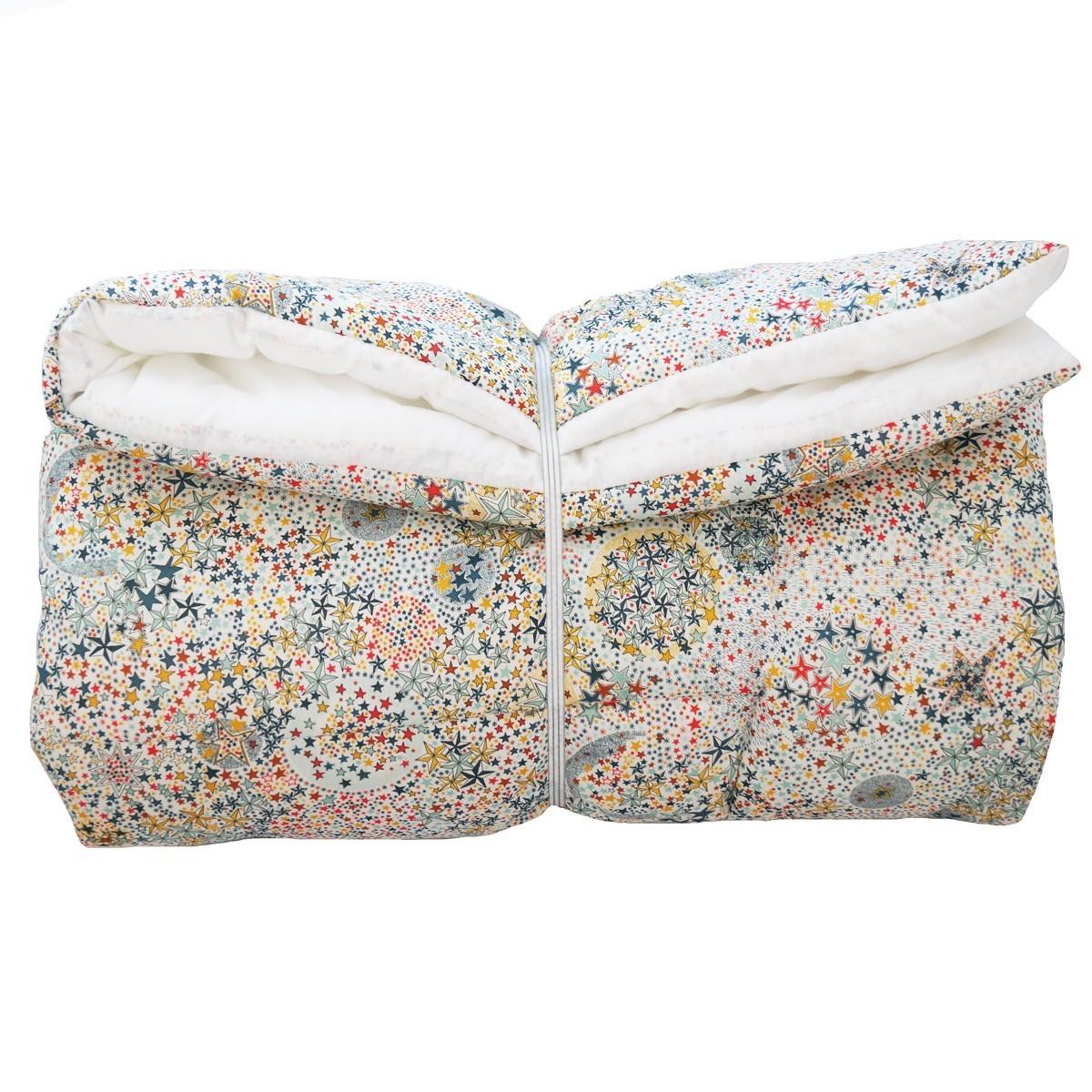couverture pour b b en liberty toiles multicolores cadeau de naissance. Black Bedroom Furniture Sets. Home Design Ideas