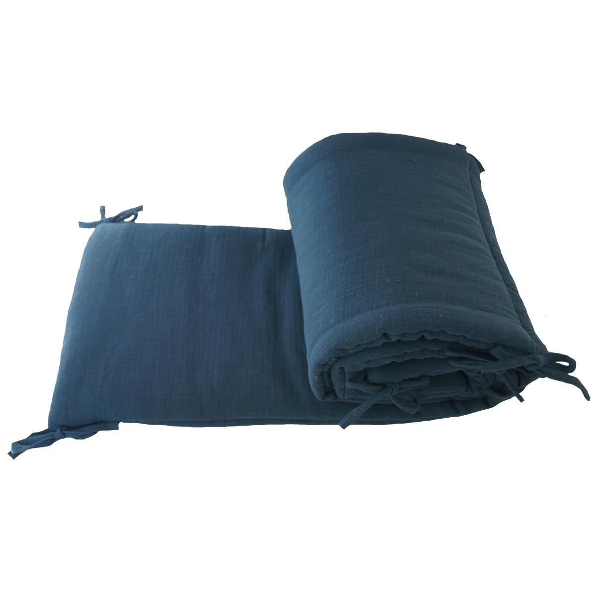 Tour de lit en mousseline de coton unie bleu indigo - Luciole et Cie