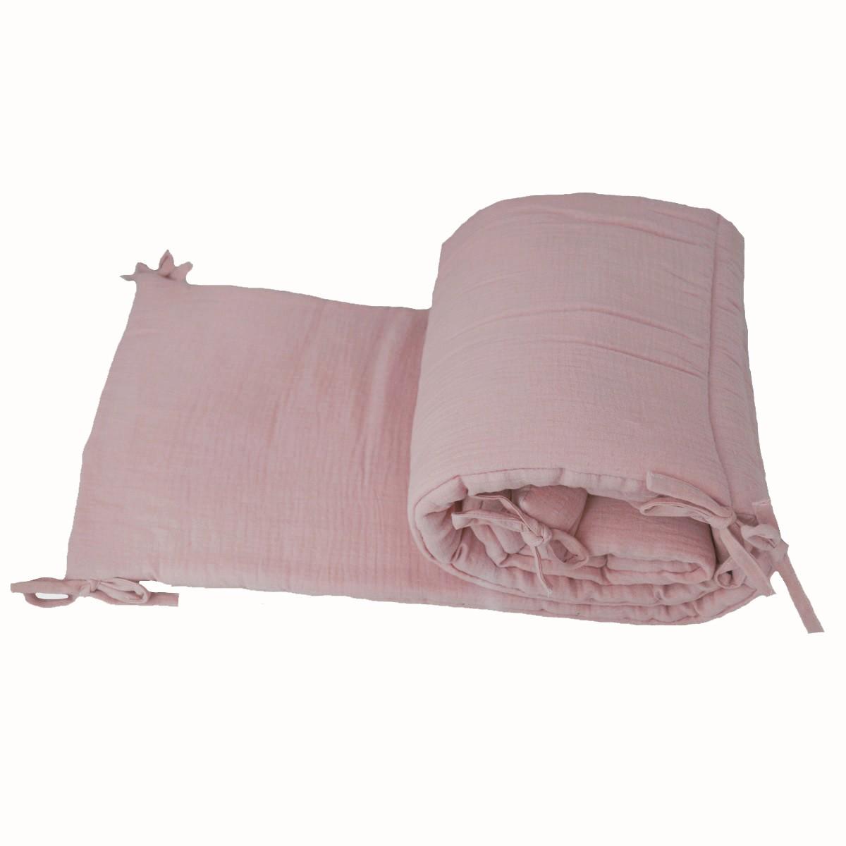 tour de lit b b fille en mousseline de coton unie rose. Black Bedroom Furniture Sets. Home Design Ideas