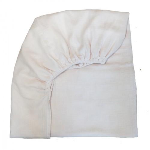 Drap housse en mousseline de coton blanc