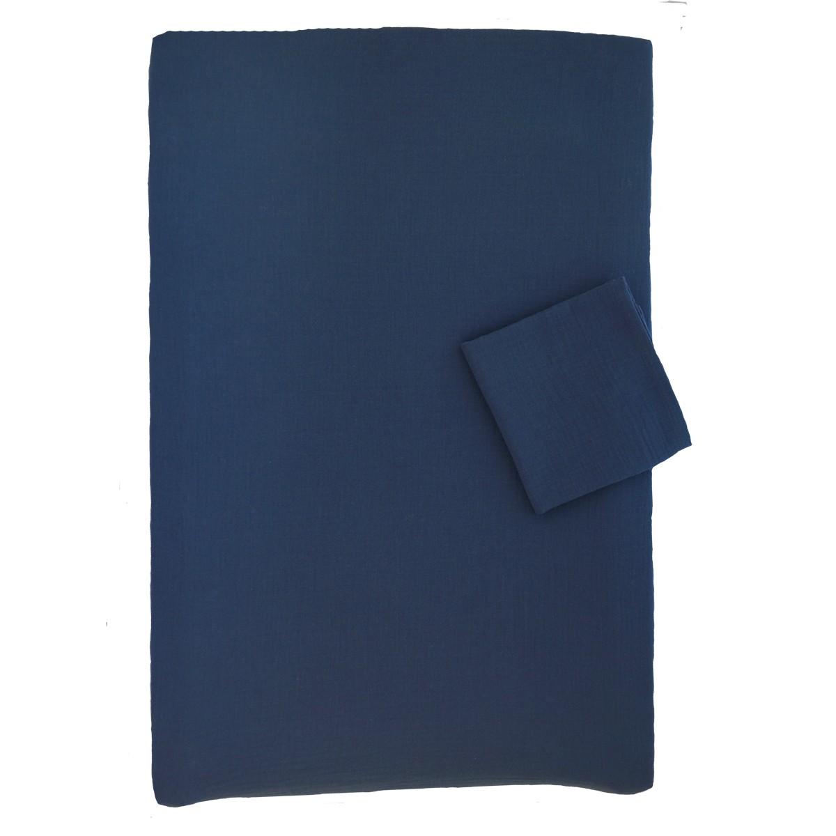 Housse de matelas langer en mousseline de coton bleu pour b b - Laver un matelas en mousse ...