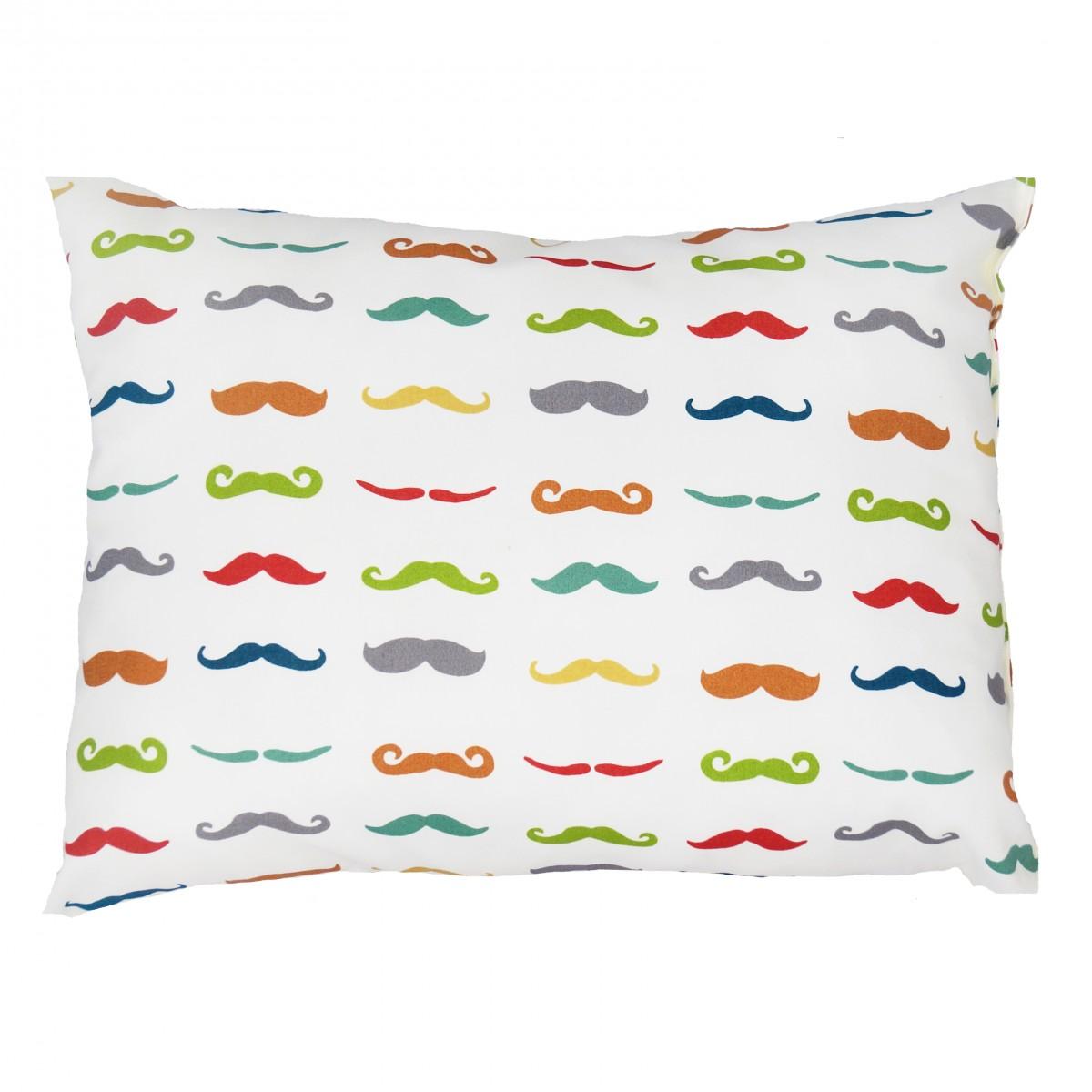 oreiller enfant moustaches en coton bio made in france. Black Bedroom Furniture Sets. Home Design Ideas