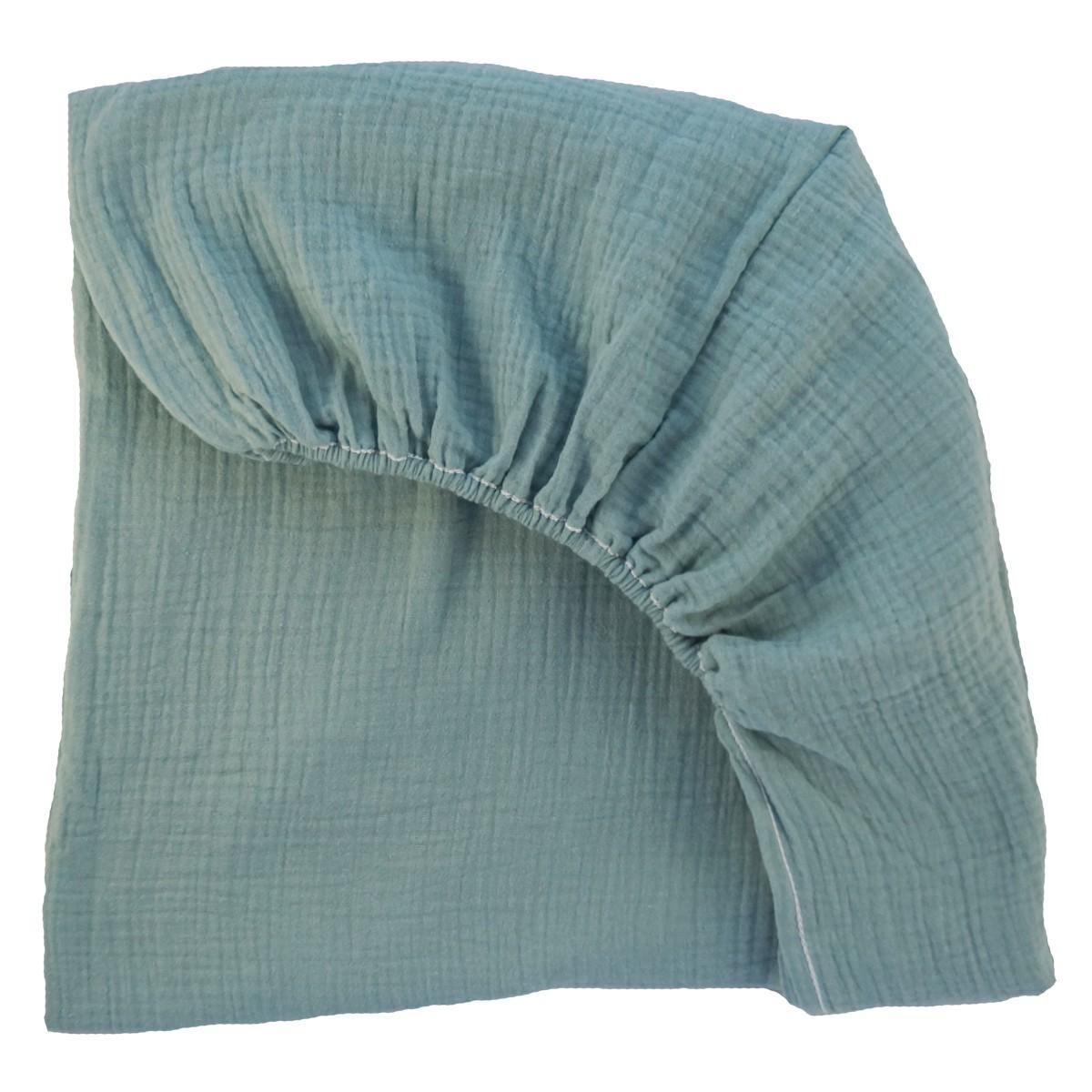 drap housse pour lit barreaux en mousseline de coton vert. Black Bedroom Furniture Sets. Home Design Ideas