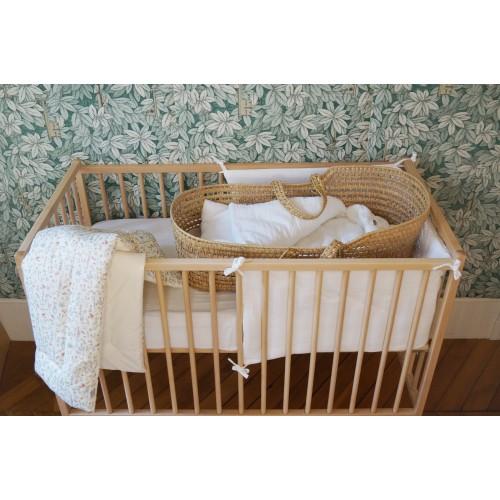 Tour de lit blanc en mousseline de coton