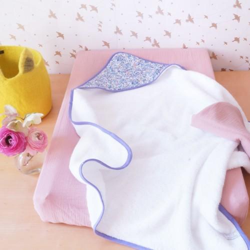 Housse de matelas à langer en mousseline de coton rose