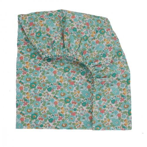 Drap housse pour lit à barreaux en liberty étoiles multicolores