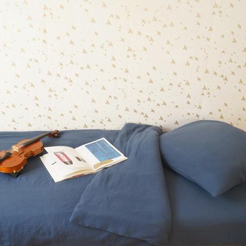 Drap housse 90 cm x 200 cm en gaze de coton bleu