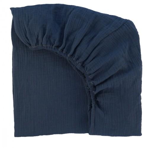 Drap housse 90 cm x 200 cm en gaze de coton blanc