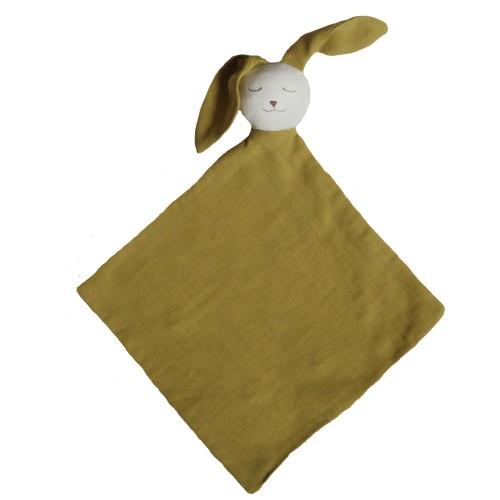 Doudou bébé bio Ernest en gaze de coton jaune safran