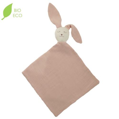 Doudou bébé bio lapin Ernest en gaze de coton rose poudre