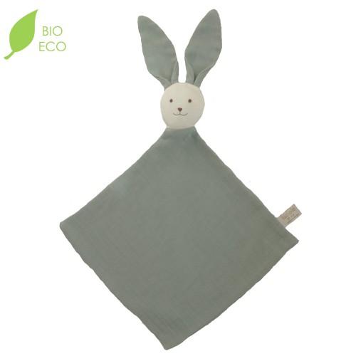 Doudou bébé lapin en gaze de coton bio vert sauge