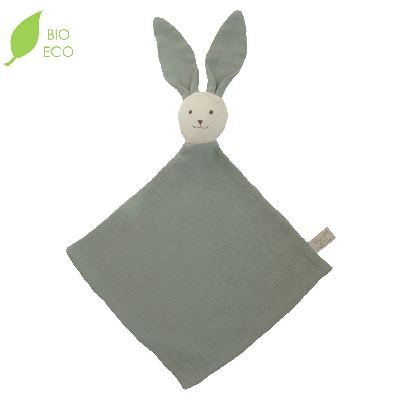 Doudou bébé en coton bio Ernest vert sauge