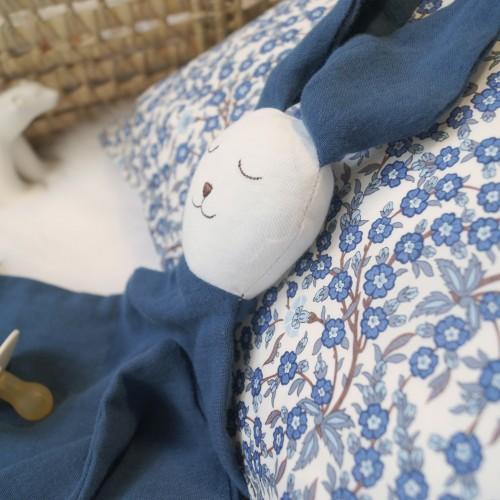 Doudou bébé bio Ernest bleu profond