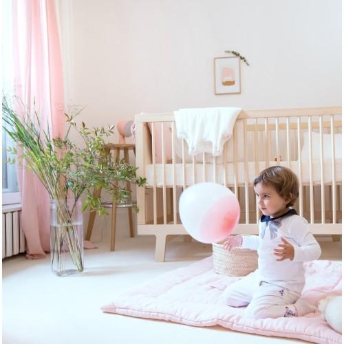 Tapis de jeu bébé fille en gaze de coton biologique rose