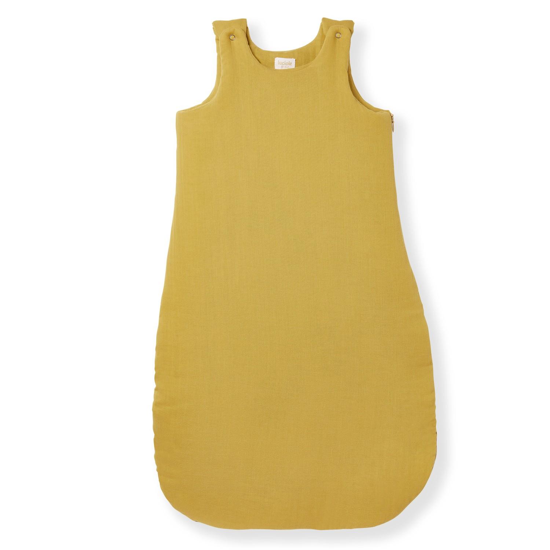 Gigoteuse hiver 6-24 mois en gaze de coton bio jaune safran