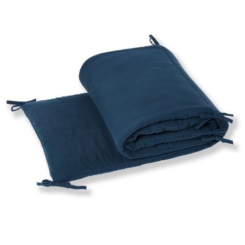 Tour de lit bébé garçon ou fille en gaze de coton biologique bleu profond