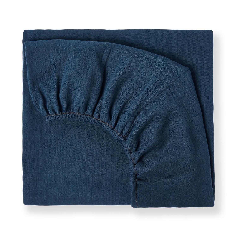 Drap housse en gaze de coton bio bleu profond