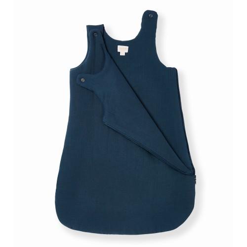 Baby Sleeping Bag in Blue Cotton Muslin
