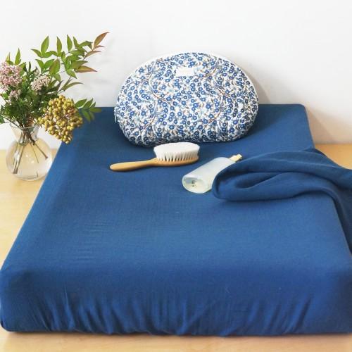 Housse de matelas à langer en mousseline de coton bleu