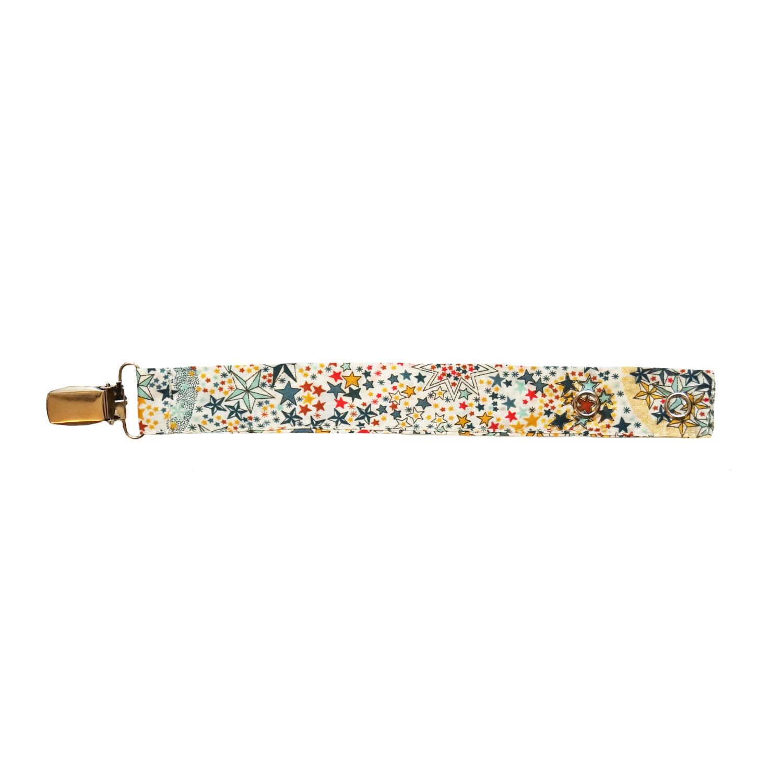 Attache tétine en tissu Etoiles Multicolores