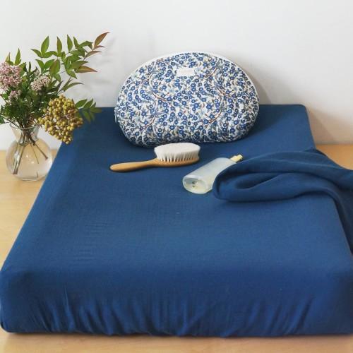 Lange en gaze de coton bio bleu profond