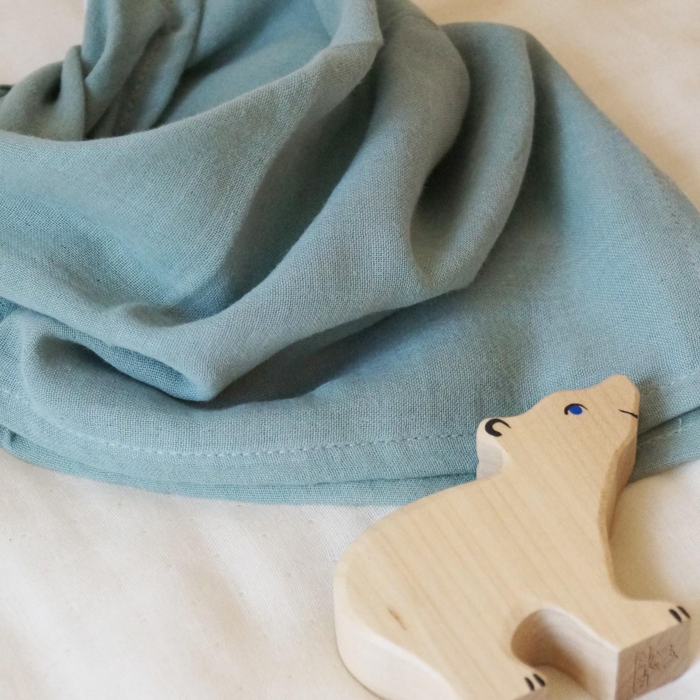 Lange en gaze de coton bio vert sauge