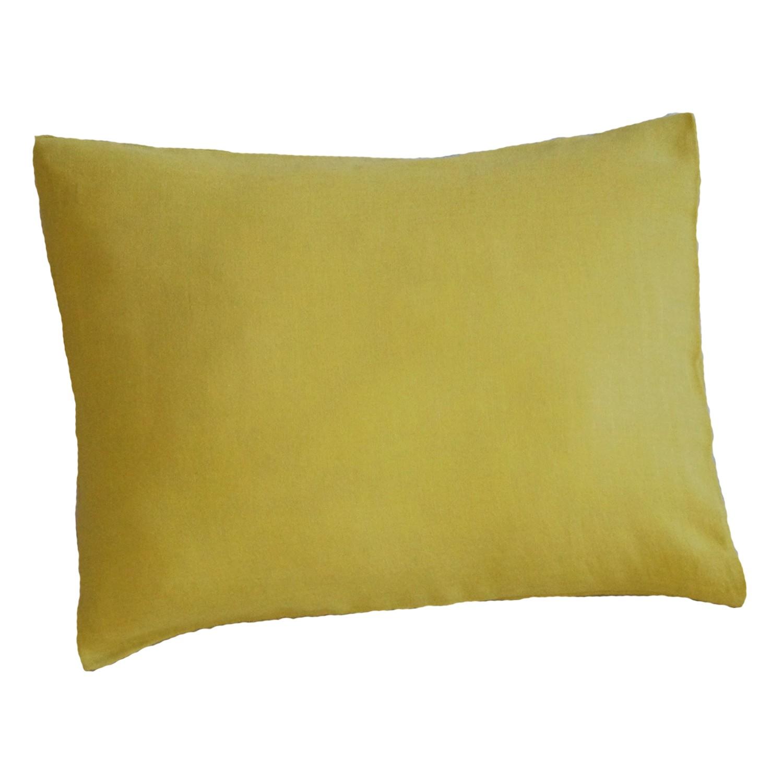Taie d'oreiller en gaze de coton bio jaune safran