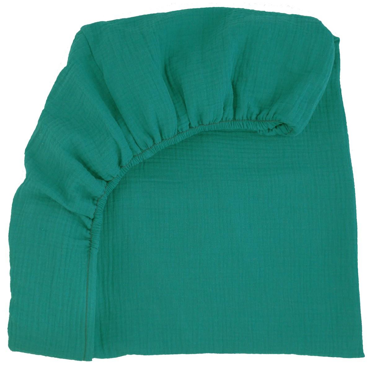 Drap housse 90 cm x 200 cm en gaze de coton Bleu vert