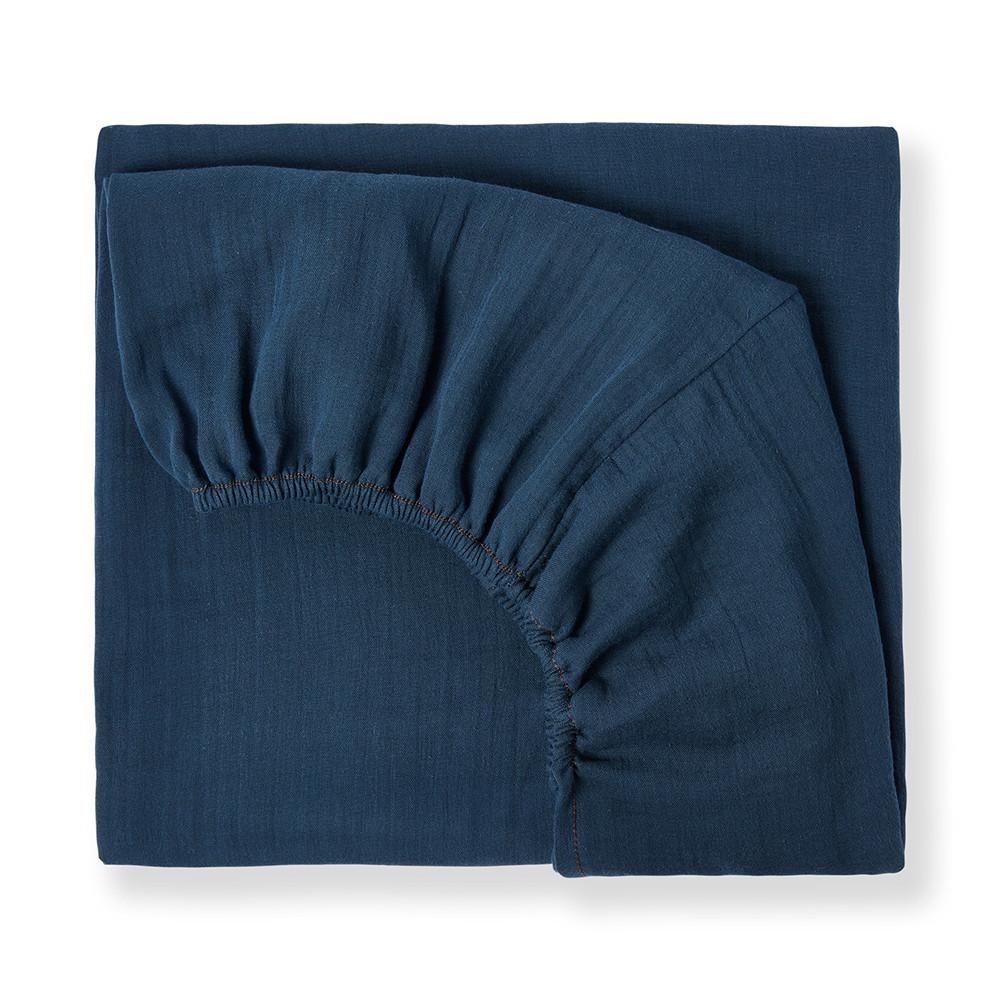 Drap housse en coton bio bleu profond