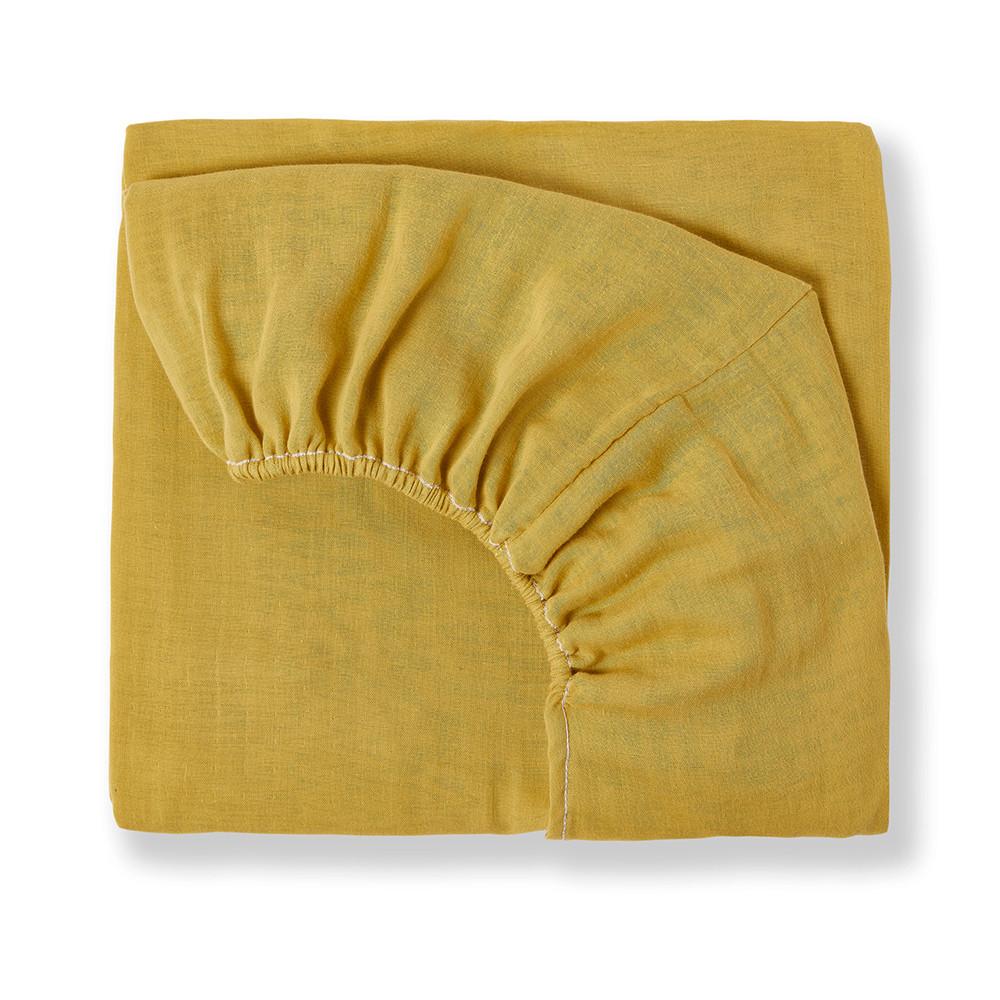 Drap housse en gaze de coton bio jaune safran