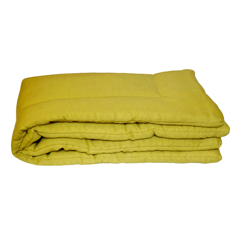 Couverture bebe en gaze de coton jaune safran