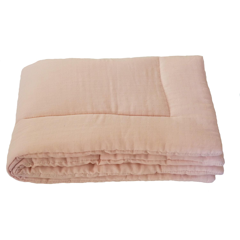 Couverture bebe en gaze de coton rose poudre